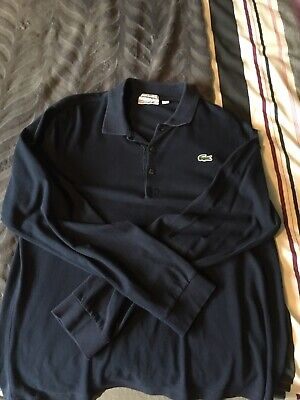 mens long sleeve Lacoste polo t-shirt Navy Size 5 Large