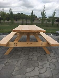 Hand-crafted pine picnic table