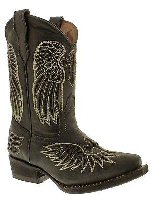 Girls Kids Toddler Black Western Wear Cowboy Boots Real Leather Wings Cross Snip](Kids Western Wear)