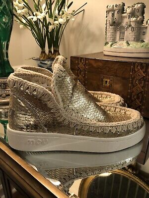 MOU Women's SUMMER ESKIMO Sneakers Boot Platinum White GOLD size 39 RARE!