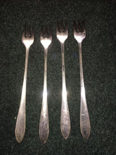 4 Of Niagara Silver Plate Cocktail,pickles,ouster Forks 6  - $10.00