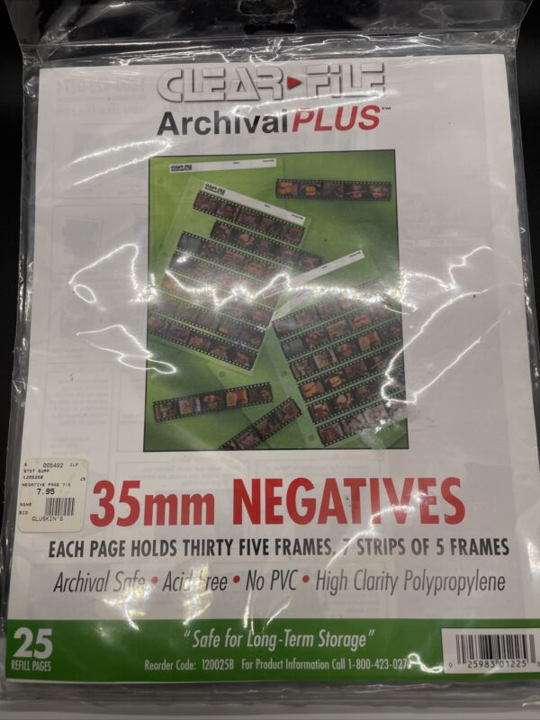 35 mm Negatives Clear File Archival 2 Packages (25 Pages 7 Strips 5 Frames Each)