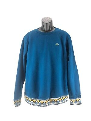 Lacoste Mens Blue Size 8 Pullover Crewneck Sweater Geometric Detail Long Sleeve
