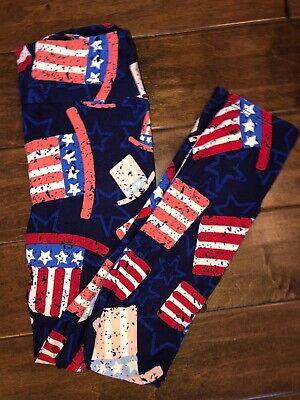 Lularoe Tween Red White Blue American Flag Top Hat Leggings