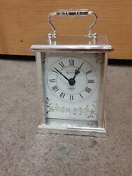 Vintage Bulova Mantle Desk Clock Battery Power Works!