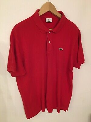 La Coste Authentic Mens XL Size (6) Slim Red Polo Shirt with Logo.