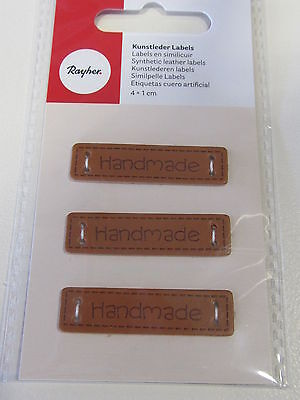 "3 Rayher Kunstleder Labels / Etiketten / Aufnäher ""Handmade / Hand made"""