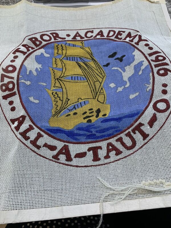 Vintage Tabor Academy Needlepoint Pillow Top. Comes With Painted Canvas And Yarn