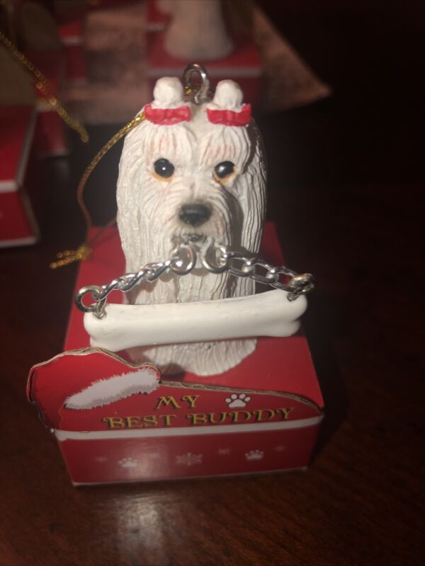 Maltese Christmas Ornament, Personalize, New