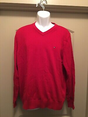 NWT Men's Large Tommy Hilfiger Red V-Neck Pullover Sweater (B)