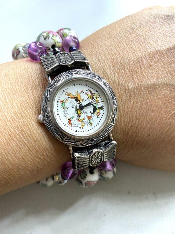 Vintage ladies watch, bracelet beads, cloisonne, working condition