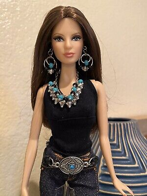 Handmade Jewelry for Barbie Turquoise and Silver Cowgirl Belt Necklace Earrings