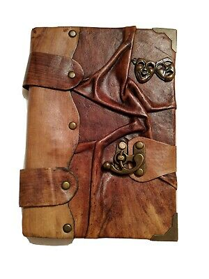 A5 LEATHER VINTAGE PAGES UNLINED NOTEPAD NOTEBOOK NOTE BOOK JOURNAL USED