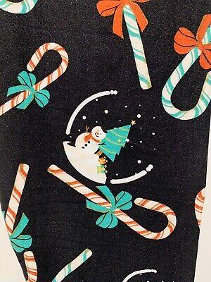 NWT Lularoe OS Solid Black Christmas Candy Canes Snowman Snow globe Leggings TC