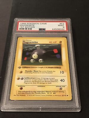 Pokemon PSA 9 Mint Base Set 1st Edition Shadowless Magnemite Non-Holo 53/102