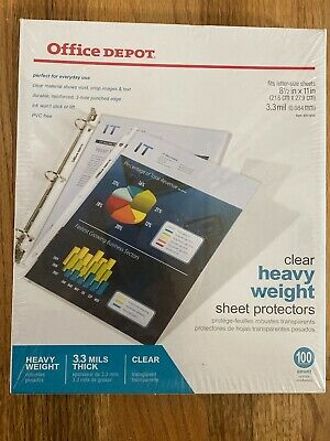 Office Depot Clear Heavy Weight Sheet Protectors 100 Counts