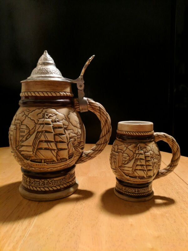 Avon Vtg. 1977 Tall Ships (Sailboats) Beer Stein & Matching Mini Beer Mug 1982