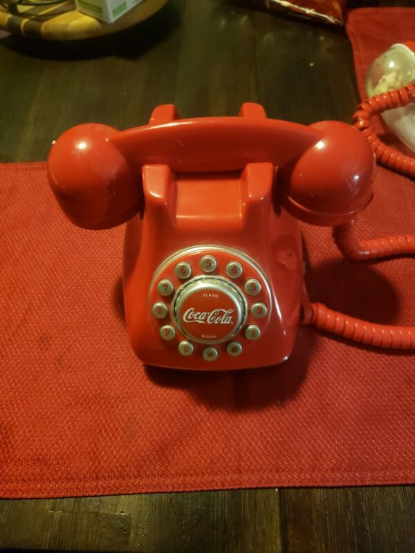 Coca Cola Snow Dome Telephone Push Button Red Phone No Cord optional solid red