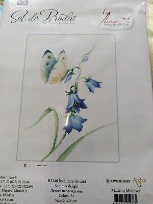 A SMALL 16ct CROSS STITCH KIT Blue bell Ideal for card making with sorted (Cross Stitch Card Making)