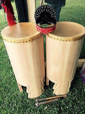 """Huehuetl Drum 34"""" X 15"""" Native Aztec Drum"""