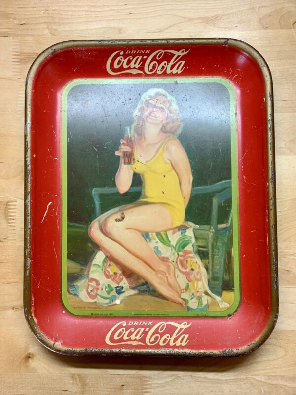 1932 Coca-Cola Serving Tray Lady In Bathing Suit