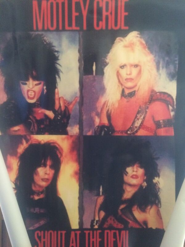 MOTLEY CRUE POSTER ON VINYL BACKGROUND 38in BY 39in!