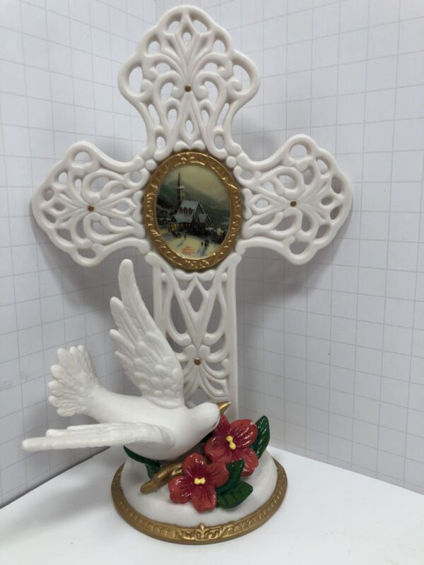Kurt S Adler Thomas Kincade Cross With Dove  Ceramic Figure