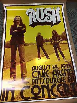 Rush Concert Poster Live in Pittsburgh 1974 Neil Peart Geddy Lee Alex Lifeson
