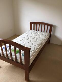 two hard wood single bed for sale