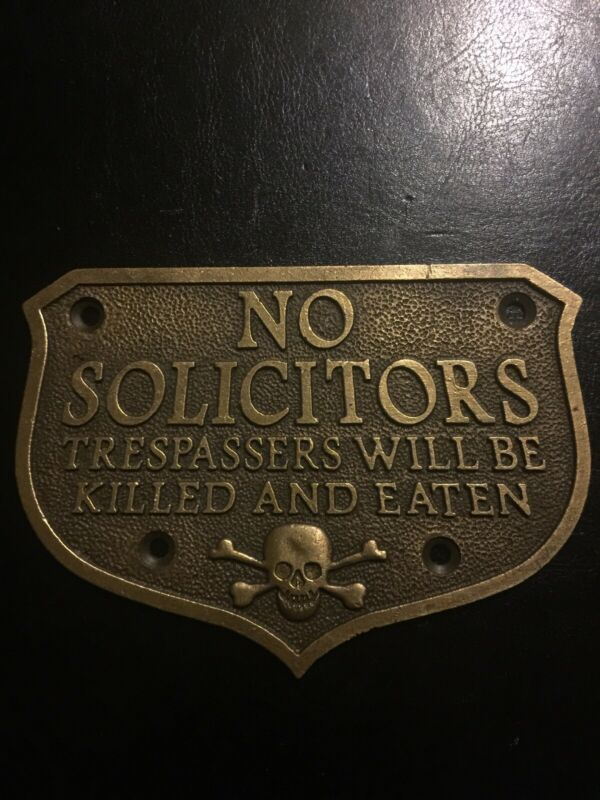 No Solicitors Solid Metal Brass Plaque Sign Heavy Duty Skull Crossbones Vg