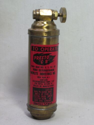 "vintage PRESTO "" C B "" Fire Extinguisher Merlite Industries small empty canister"