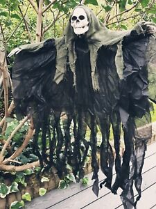 4FT HOODED SKELETON HALLOWEEN HANGING HORROR SKULL GHOUL DECORATION PROP SHOP