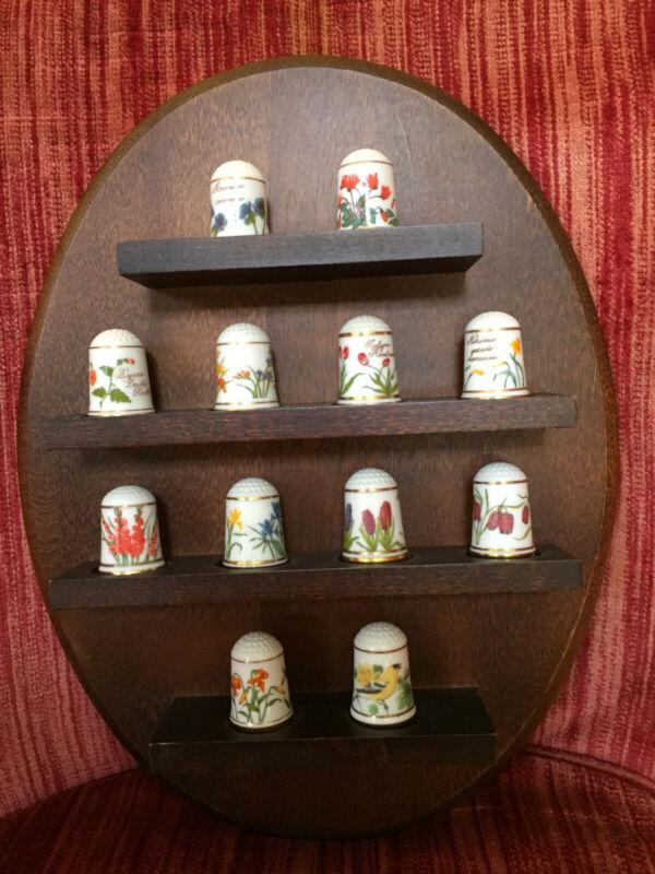 """Thimble set (12) Porcelain """"Flowers of"""
