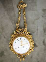 Antique 19th C. French Medaille D' Argent 1855 Gilt Bronze Wall Clock