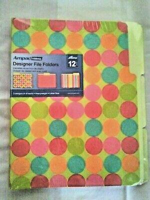 Ampad Designer File Folders Office Circles 4 Stripes 4 Red 4 Bright Set Of 12