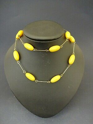 1930s Art Deco Style Jewelry c1930s Faux Egg Yolk Amber Bead Necklace: Drop Approx 36cm $34.54 AT vintagedancer.com