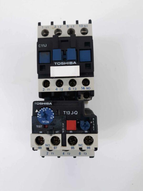 Toshiba C11J Contactor 110v Coil w/ T13 J-Q Overload Relay 1.8-2.8A w/LA4 DA 1U