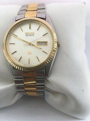 Seiko Mens Quartz Vintage Day & Date 50 MT Two/Tone Bracelet 5H23-8020 Watch