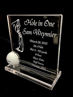 Executive Style Hole in One Golf Ball Trophy - Plaque - Crystal Clear - 2015