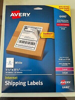 Avery Shipping 50 Labels 6440 8126 5126 Laser Inkjet 5 12 X 8 12 25 Sheets