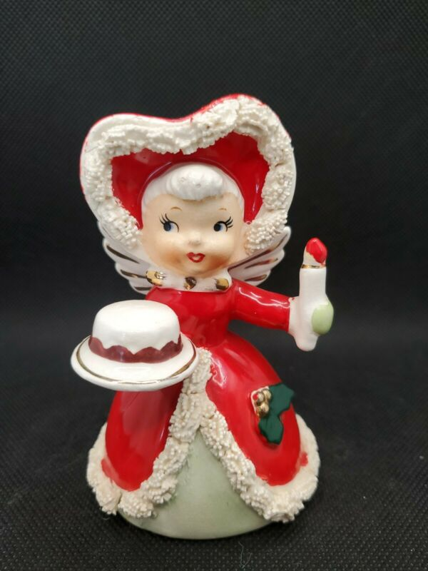 Vintage Napco Christmas Spaghetti Angel With Cake And Candle Bell Japan
