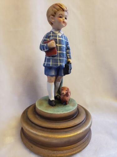 Vintage Schmid Rotating Music Box School Boy w/ Dachshund Figurine