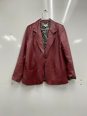 D & Co RED Leather Jacket Womens L