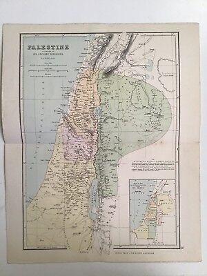 Palestine, 1881 Antique Map, Philips, Atlas, Original, Ancient Divisions, Tribes