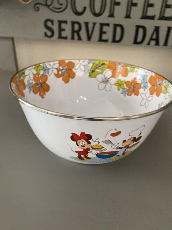 "Disney Summer Time BBQ Goofy Pluto Mickey Minnie Donald Metal 9"" Enamelware Bowl"