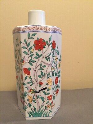 "Herend Oriental Garden LARGE 10 1/4"" Hexagonal Bottle Vase- Mint"