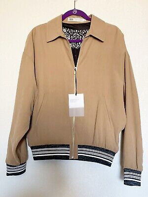 NWT Zara Mens Khaki Brown tan Zip Up Bomber Striped ribbed trim Jacket Sz M