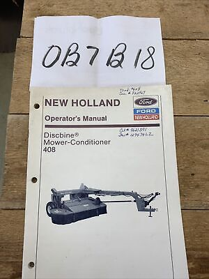 New Holland 408 Discbine Mower Conditioner Operators Owners Manual