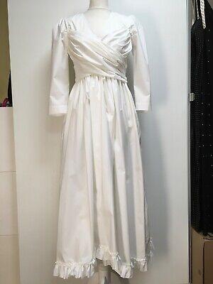 NWT Isa Arfen white stretchy cotton poplin v-neck wrap front midi dress 10