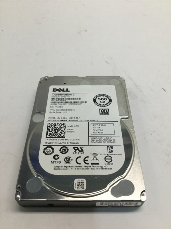 "Dell 00X3Y 609Y5 500GB HDD 7.2K 6Gbps 2.5"" SATA Hard Drive ST9500620NS"